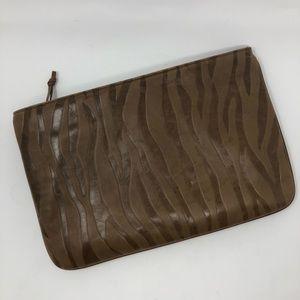 Vintage Embossed Tiger Stripe Leather Clutch